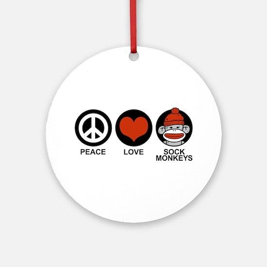 Peace Love Sock Monkeys Ornament (Round)