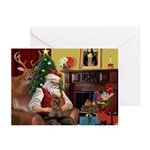 Santa's Yorkie (#11) Greeting Cards (Pk of 10)