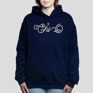 Chi Omega Curl Women's Hooded Sweatshirt