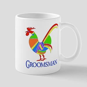 Rainbow Rooster Groomsman Mug