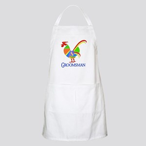Rainbow Rooster Groomsman BBQ Apron