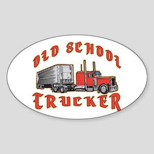 Old School Trucker Oval Sticker
