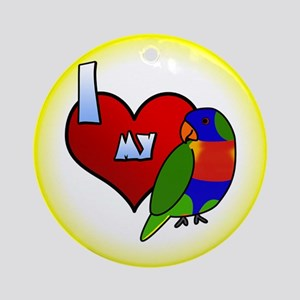 I Love My Rainbow Lorikeet Ornament (Cartoon)