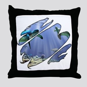 See Through Turtles Throw Pillow