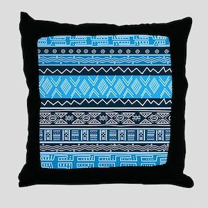 Blue Modern Mudcloth Throw Pillow