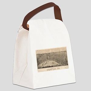 Vintage Pictorial Map of Evansvil Canvas Lunch Bag