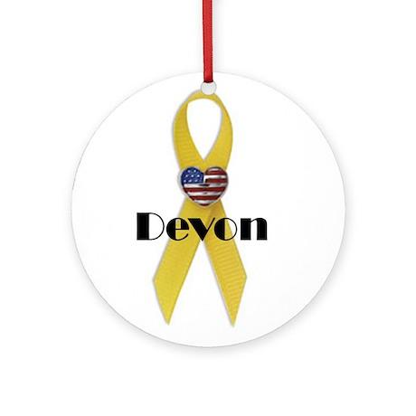 Devon (Yellow Ribbon) Ornament (Round)