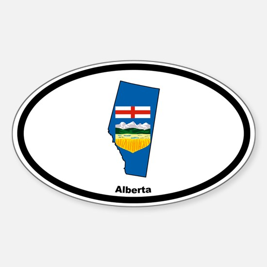 Alberta Outline & Flag Oval Bumper Stickers