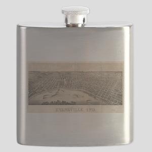 Vintage Pictorial Map of Evansville Indiana Flask