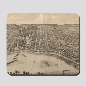 Vintage Pictorial Map of Evansville Indi Mousepad