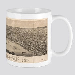 Vintage Pictorial Map of Evansville Indiana ( Mugs