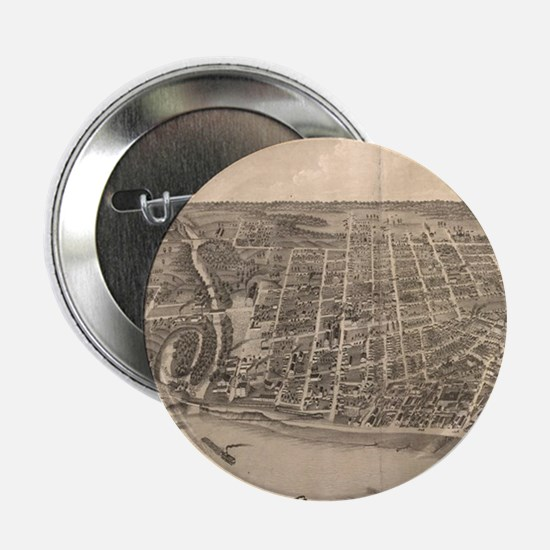 "Vintage Pictorial Map of Evansville I 2.25"" Button"