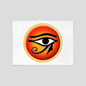 Eye Of Ra On Sun Disk 5'x7'Area Rug