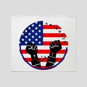 happy juneteenth american flag Throw Blanket