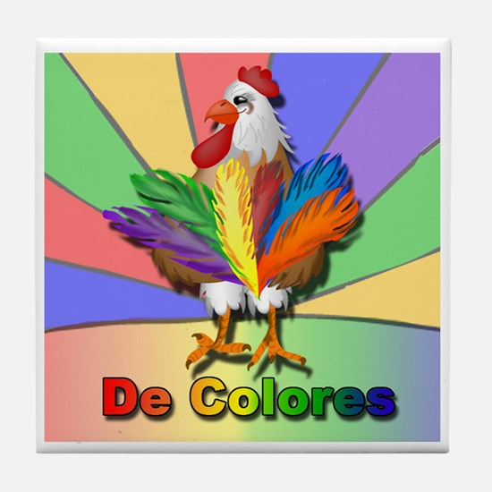 Rooster Tail De Colores Tile Coaster