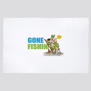 Gone Fishin Alligator in Beach Chair 4' x 6' Rug