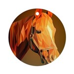 Horse Poly Art Round Ornament