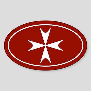 Maltese Cross Bumper Sticker -Red (Oval) Sticker