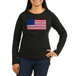 Red White and Blue Women's Long Sleeve Dark T-Shir