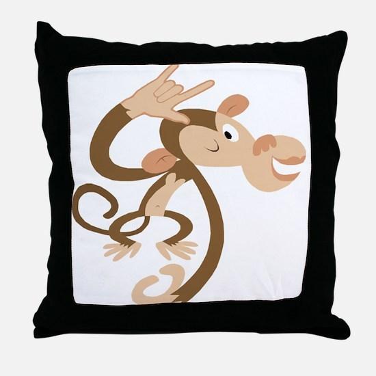 I Love You Monkey Throw Pillow