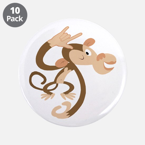 """I Love You Monkey 3.5"""" Button (10 pack)"""