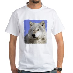 White Wolf on Blue White T-Shirt