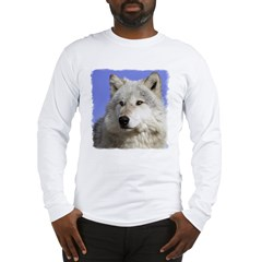 White Wolf on Blue Long Sleeve T-Shirt