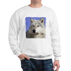 White Wolf on Blue Sweatshirt