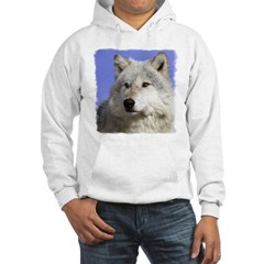White Wolf on Blue Hoodie