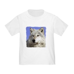 White Wolf on Blue T