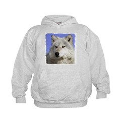 White Wolf on Blue - Hoodie