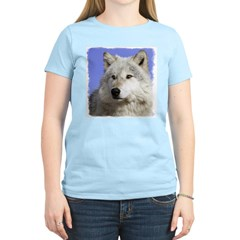 White Wolf on Blue Women's Pink T-Shirt