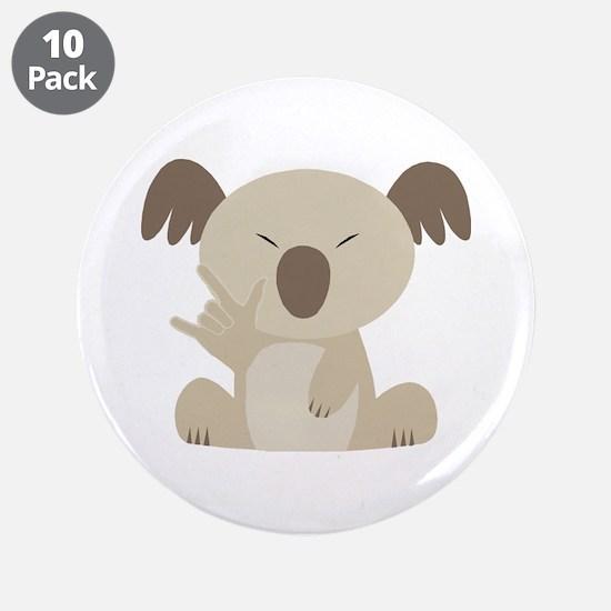 "I Love You Koala 3.5"" Button (10 pack)"