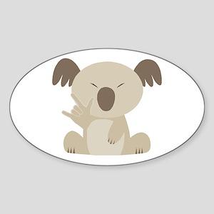 I Love You Koala Oval Sticker