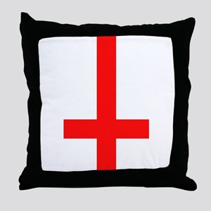 Red Inverted Cross Throw Pillow