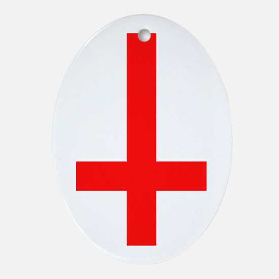 Red Inverted Cross Oval Ornament