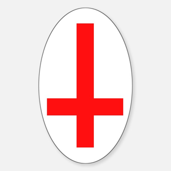 Red Inverted Cross Oval Decal