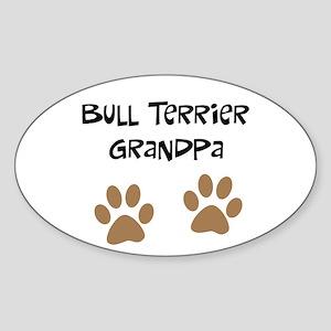 Big Paws Bull terrier Grandpa Oval Sticker
