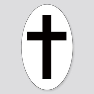 Cross Oval Sticker