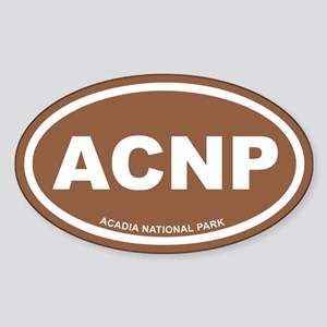 Acadia National Park Brown Euro Oval Sticker