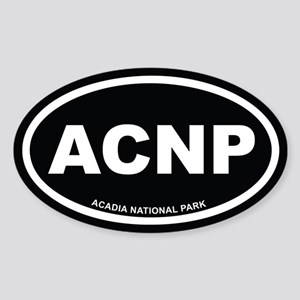 Acadia National Park Black Euro Oval Sticker