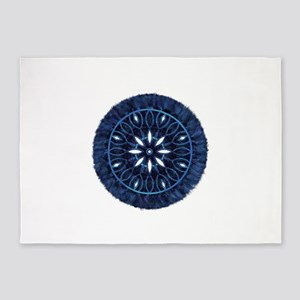 Blue Decorative Faux Stitch 5'x7'Area Rug