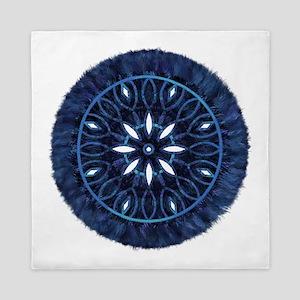 Blue Decorative Faux Stitch Queen Duvet
