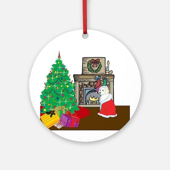 Santa Yellow Lab Ornament (Round)
