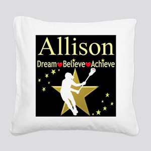 LACROSSE GIRL Square Canvas Pillow