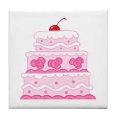 Pink Cake Tile Coaster