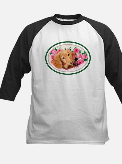 Dachshund & Pink Roses Kids Baseball Jersey