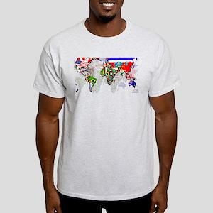 World Flags Map Light T-Shirt