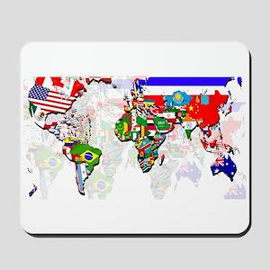 World Flags Map Mousepad