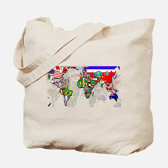 World Flags Map Tote Bag